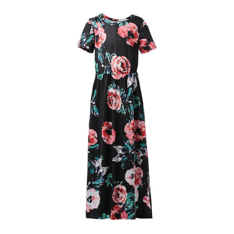 fc39607db93e Manica corta Nero Colori Ragazze Maxi Vestito. Vista frontale. 1 Black  Summer Floral Beach Dress Short Sleeve Front View