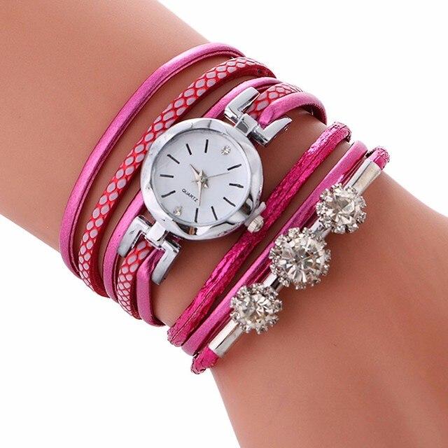 Top Brand Fashion Luxury Rhinestone Leather Bracelet Watch Women Ladies Quartz Watch Casual Wrist Watches Relogio Feminino Gift
