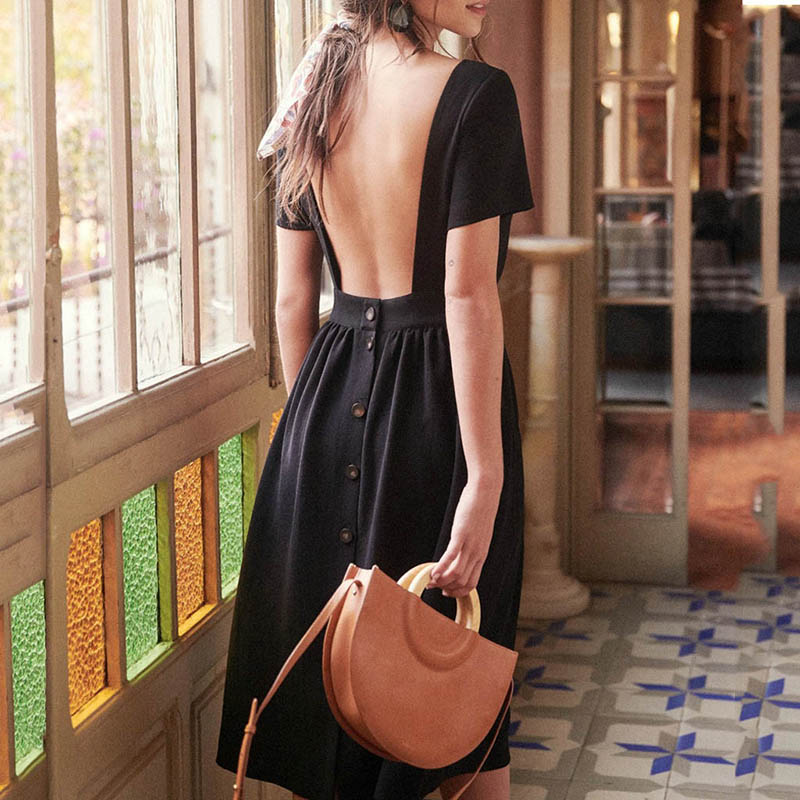 Women Fashion O Neck Short Sleeve A Line Dresses Elegant Women Sexy Backless Button Solid Dress Sweet Casual Summer Dress in Dresses from Women 39 s Clothing