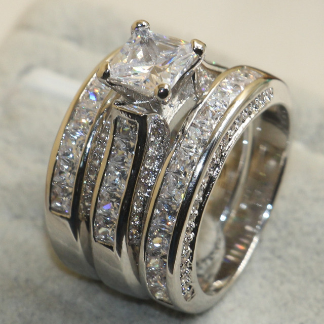 Princess Cut Diamond 925 Sterling Silver White Sapphire Wedding Engagement Ring