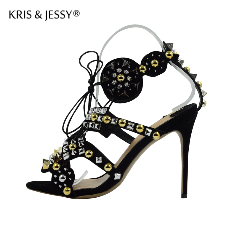 New Arrival Gold Silver Rivets Black Suede Women Sandals  Gladiator Thin High Heels Sexy Punk Woman Lace Up Party Shoes new arrival black brown leather summer ankle strappy women sandals t strap high thin heels sexy party platfrom shoes woman