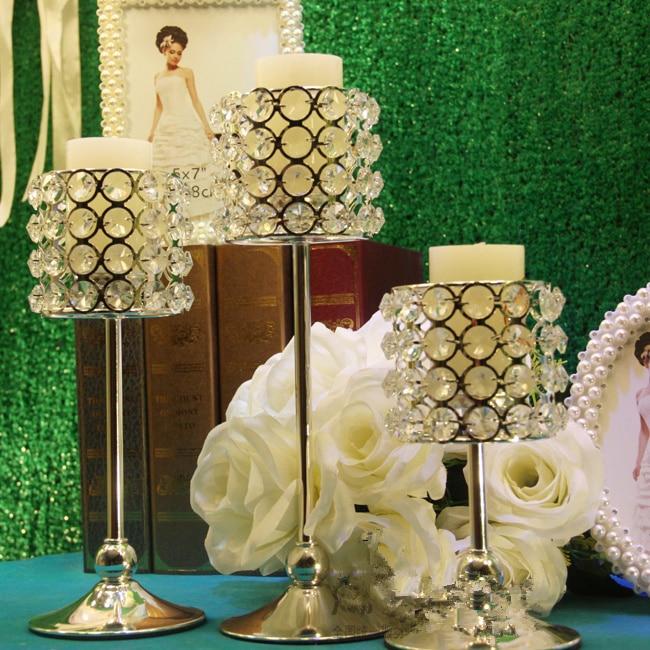 Crystal wedding candle stick candle holder wedding decoration crystal candelabra wedding props 3pcs/set 2sets/lot