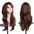 Women's Fashion Wig With Bangs Long Curly Hair Brown Curly Hair Wigs Long Wave Lady's Synthetic Hair Wig Full Lace Cosplay Wig