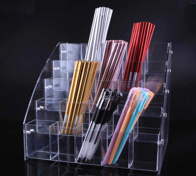 Clear acrylic Cosmetic Brush Eyeshadow Pencil Pen Lipstick Display Stand Rack Support Organizer Holder For Desk Office Supplies