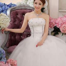 b816780fc2 s 2016 stock new plus size Bridal gown dress slim lace up tube top princess wedding  dress flower ball gown