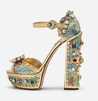Luxury Crystal Faux-pearl Embellished Platform Sandals Gold Floral Lace Ankle Strap Wedding Shoes Bride Chunky Heels Sandals