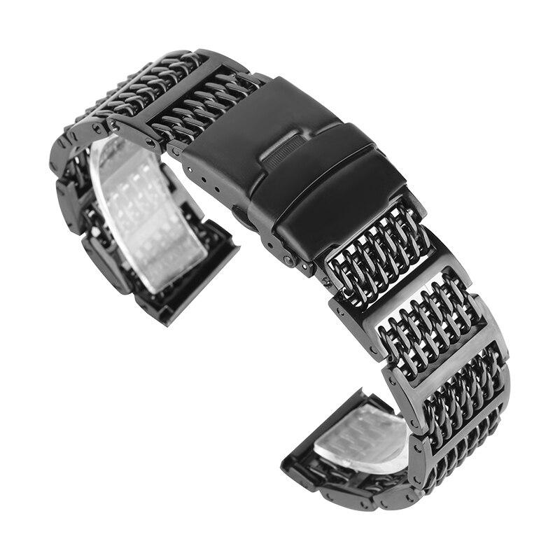 купить Silver/Black 20mm 22mm 24mm Mesh Stainless Steel Watchband Adjustable Fold Clasp Watches Strap for Men Replacement Bracelet по цене 1523.14 рублей