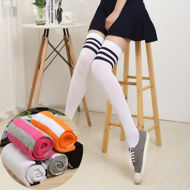 0673b784a3c Spring Autumn Thick Pantyhose Stockings HOT Girls Sexy Thigh High Stockings  Baseball Over Knee Socks