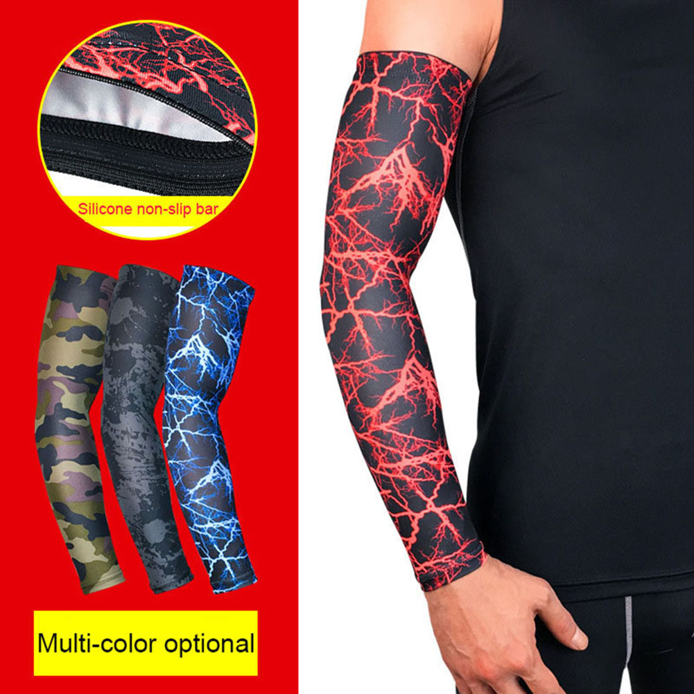 1Pc Summer Camouflage Graffiti UV Protection Running Cycling Arm Warmers Covers Golf Sport Arm Sleeves Holder Elastic Elbow Pads