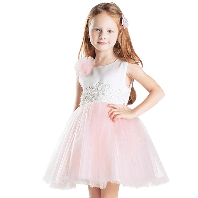Elegant Girl Dress Girls 2017 Summer Fashion Pink Lace Big Bow Party Tulle Flower Princess Wedding Dresses Baby Girl dress send envelope lace laser cut pink invitations cards for wedding free printing blank paper invitation card kit ribbons big bow