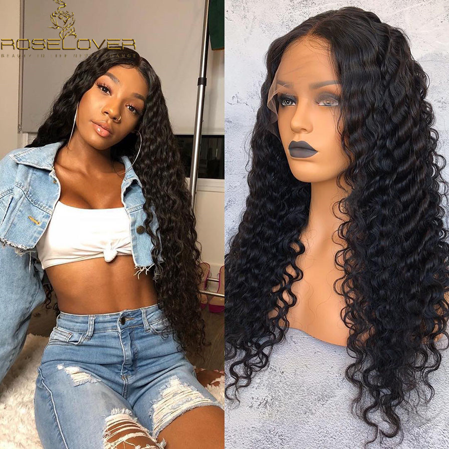 360 Lace Frontal Wig Deep Wave Human Hair Wigs Pre Plucked with Baby Hair Bleached Knots