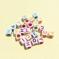 Atacado 1900 Pçs/lote 6*6 MM Quadrado Cubo Letras Beads Big Hole Branco com Colorido Inicial Do Alfabeto Impresso Plástico Contas espaçador
