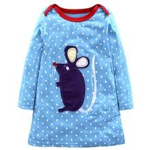 Купить с кэшбэком Fashionable 2019 Newborn Baby Girl Animal Mouse Dog Clothes Wholesale Hot Casual Cute Infant Girl Rabbit Stripe Dress