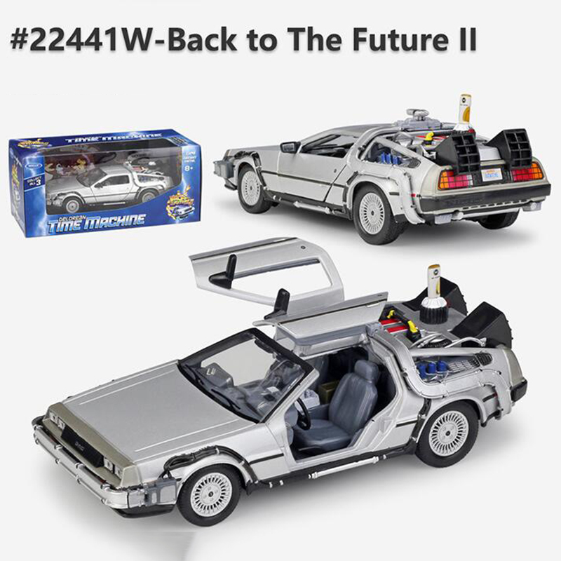 <font><b>1/24</b></font> <font><b>Scale</b></font> Metal Alloy <font><b>Car</b></font> Diecast Model Part 1 2 3 Time Machine DeLorean DMC-12 Model Toy Back to the Future Fly version Part 2 image