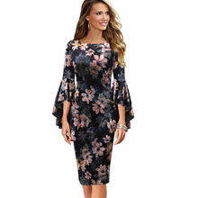 Vfemage Women Autumn Elegant Long Flare Bell Sleeve Fashion Vintage Pinup Formal Party Cocktail Bodycon Pencil Sheath Dress 1703