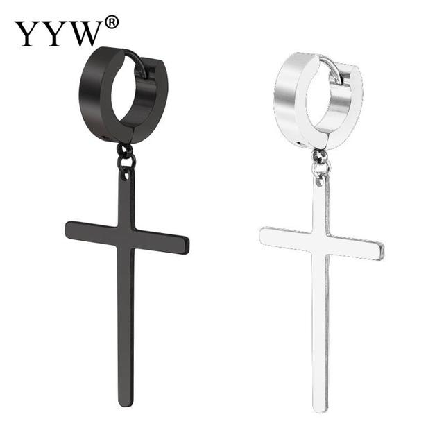 YYW New Punk Fashion Unisex Women Male Prayer Black Original 316 Stainless Steel Huggie Loop Cross.jpg 640x640 - YYW New Punk Fashion Unisex Women Male Prayer Black Original 316 Stainless Steel Huggie Loop Cross Charm Drop Dangle Earrings