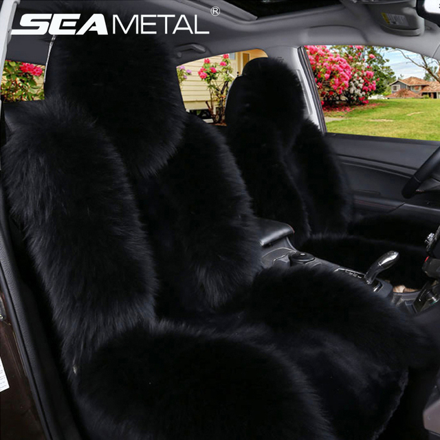 Car Seat Cover Long Wool Winter Universal Sheepskin Faux Fur Front Cushion Natural Covers For