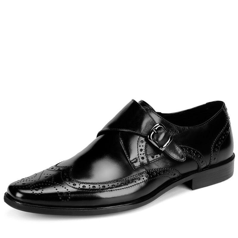 Sapatas Dos Oxfords Preto Casuais Brogue Homens De Genuína Fivela Sapatos Vestido brown Noiva Formais 2019 Black Couro Novos Deslizamento 0I7wA