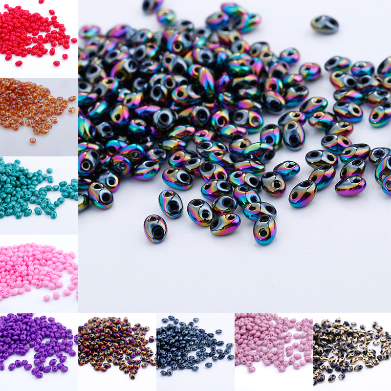 240pcs 5x2.5mm Czech Glass Seed Beads Two Hole beads For DIY jewelry making U PICK Color(China)