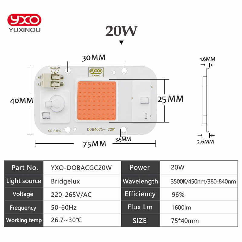 NEW DOB Dimmable LED Grow Light Lamp Full Spectrum Input 220V AC 20W 30W 50W For Indoor Plant Seedling Grow and Flower COB Chip