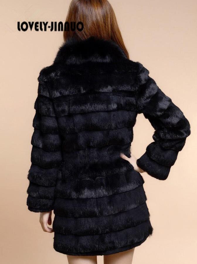 F928 Veste Beige Taille Renard Véritable noir Personnalisé Gilets Fourrure Lapin Nouveau Avec Grande Manteau 2018 Hiver Col De Femmes xFqa1BwnH