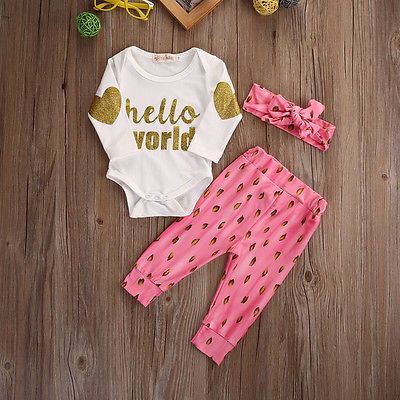 3pcs Suit !!  Newborn Baby Girls Cotton Romper Pants Headband Outfits Pink Clothes Set