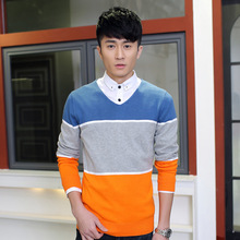 New Arrival Men Personality Sweaters Ctasual Clothing Full Sleeve Slim Patchwork Color Pullovers V-Neck Man knitting sweaters