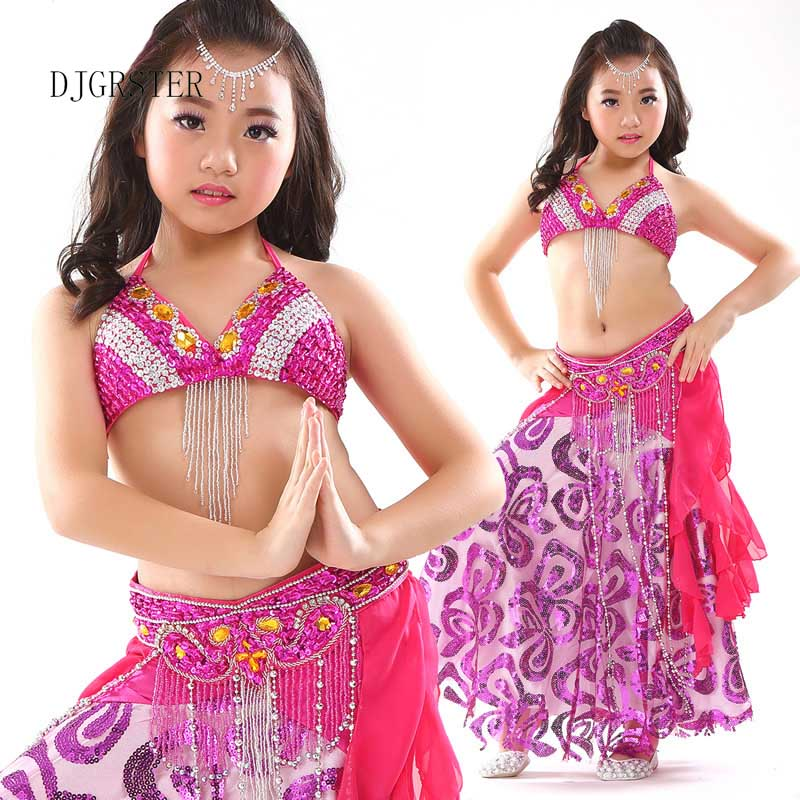 DJGRSTER <font><b>Indian</b></font> <font><b>Sari</b></font> Girl Dress Orientale Enfant <font><b>Indian</b></font> Costumes For <font><b>Kids</b></font> Oriental Dance Costumes Belly Dance Dancer Clothes Set image