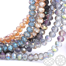 OlingArt 3/4/6/8/10mm Round Glass Beads Rondelle Austria faceted crystal  Mixed color change Loose bead DIY Jewelry Making