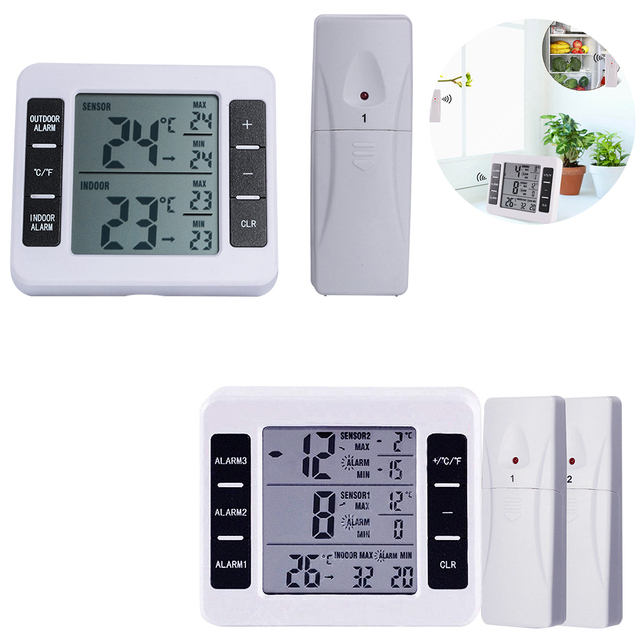 1pcs Digital Thermometer Temperature Meter Weather Station Tester + Wireless Outdoor Transmitter 0-60C with C/F Temperature Instruments