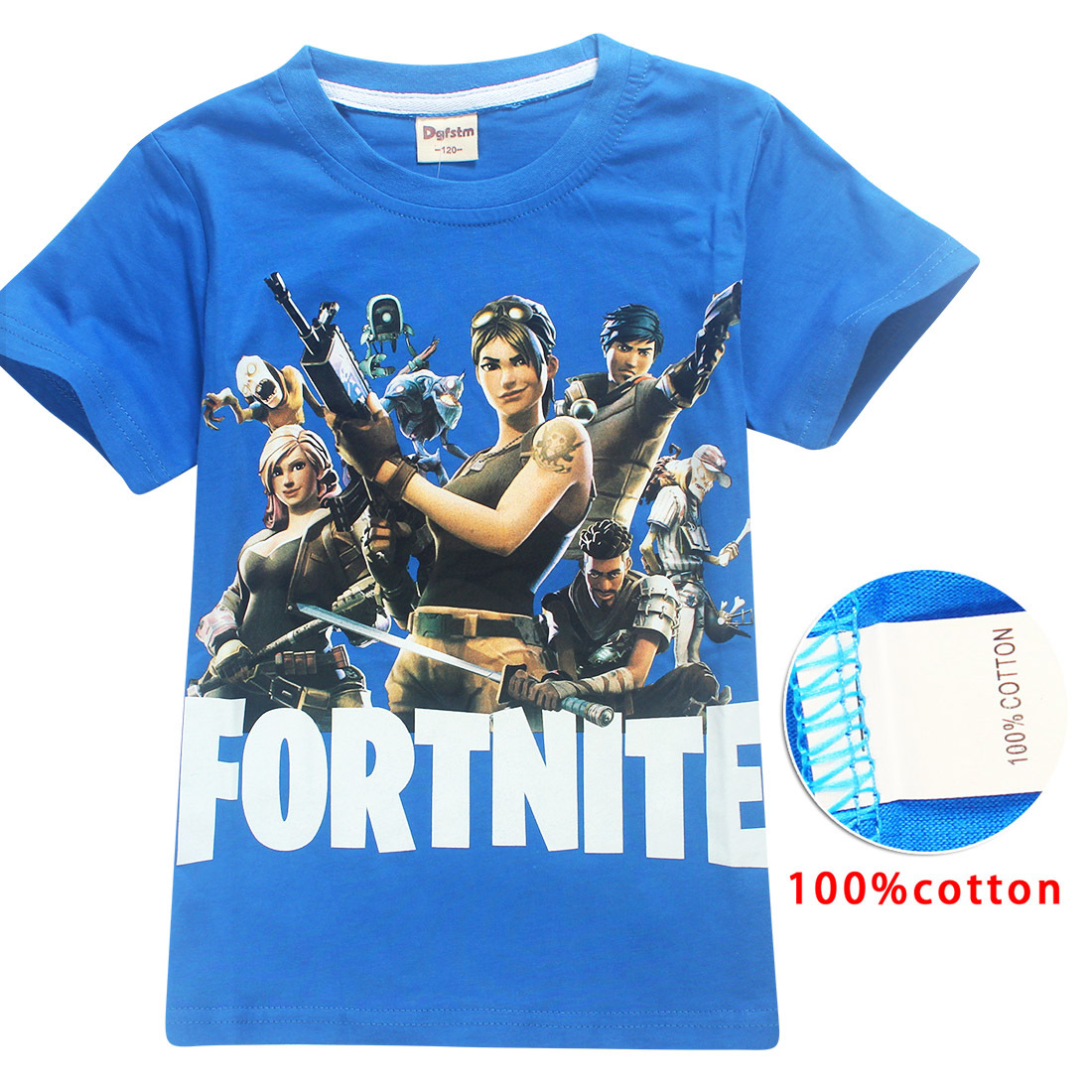 Pure Cotton Summer T Shirts Fortnite Battle Royale Legend Gaming Pattern Tops Baby Girls Boys T-shirt Kids Clothes 12 14 Years