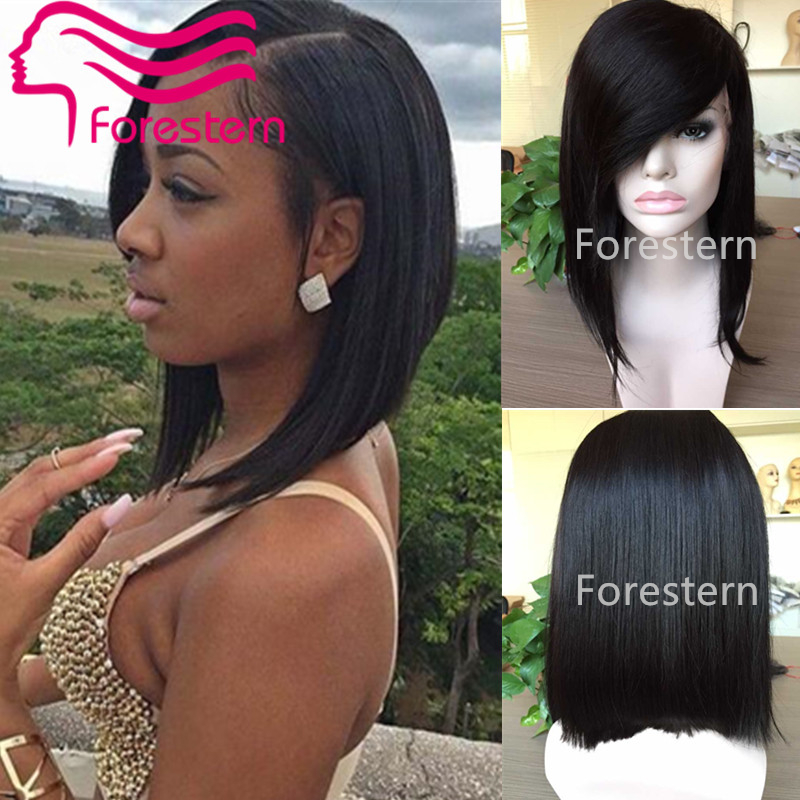 Layered Human Hair Short Bob Wigs For Black Women Glueless Lace Front Human Hair Bob Wig