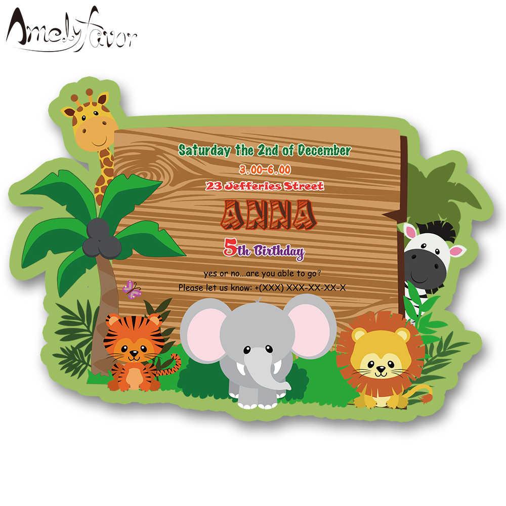 Tema De Los Animales Del Safari Invitaciones Tarjeta De
