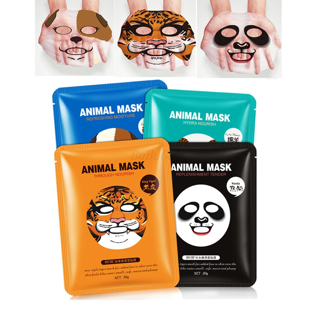 HanChan 1 Pcs Cute Animal Sheep/Dog/Panda/Tiger Facial Mask Hyaluronic Acid Moisturizing Oil-control Korea Mask Face Care