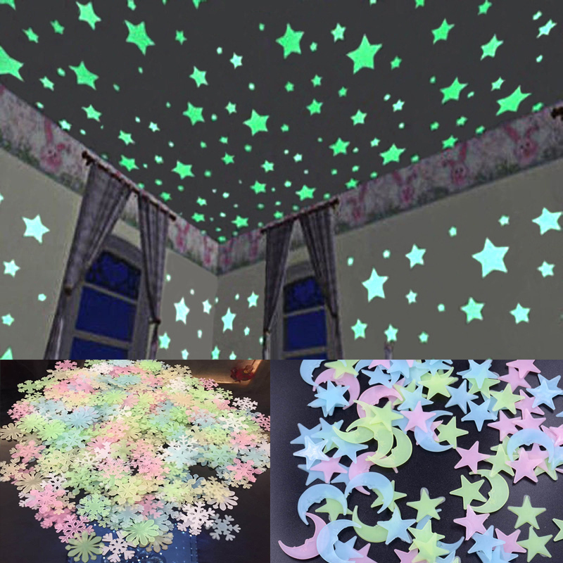 100 Pcs 3D Star And Moon Energy Storage Fluorescent Glow In The Dark Luminous On Wall