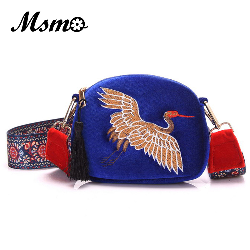 MSMO new ethnic bag crane embroidered folk style felt handbag vogue female bag Bohemia shoulder crossbody bags mini tassel bags 2016 summer national ethnic style embroidery bohemia design tassel beads lady s handbag meessenger bohemian shoulder bag