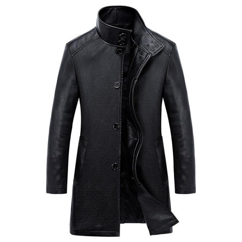 Nueva gabardina de cuero de lujo para hombre, chaqueta de cuero Casual de negocios de un solo pecho, abrigo de PU largo negro para hombre, talla grande 4XL