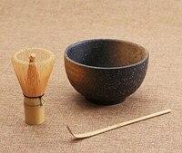 Cerimônia do chá 3 pcs conjuntos matcha tigela colher de bambu batedor matcha teaware