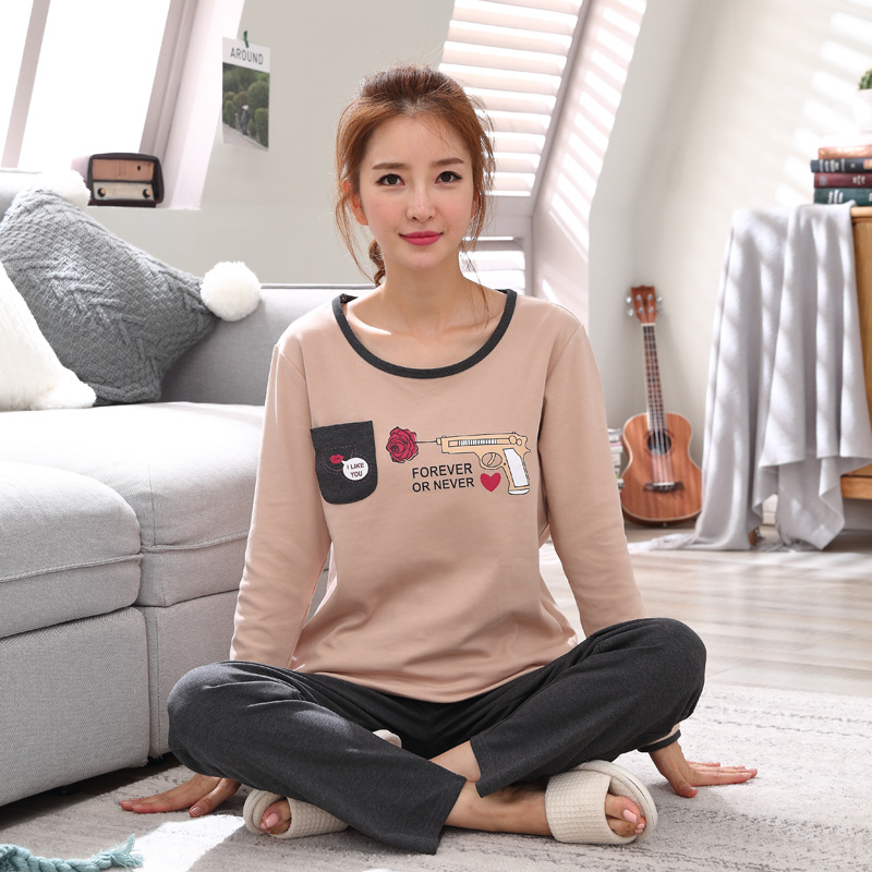 2019 Women Pajamas Sets Autumn Winter New Women Pyjamas Cotton Clothing Long Tops Set Female Pyjamas Sets NightSuit Mother Sleep 120