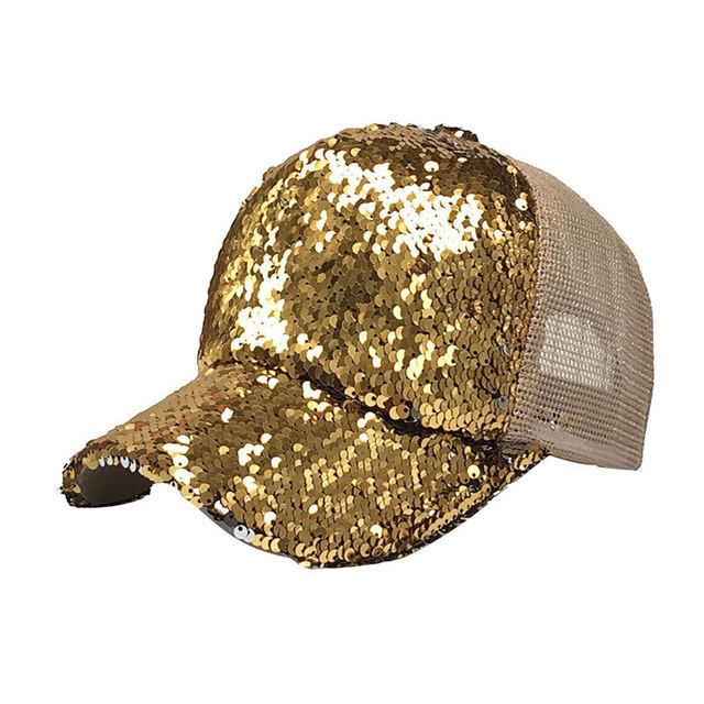 Baseball Cap Summer Women s Men s Ponytail Solid Baseball Hats Sequins  Shiny Messy Bun Adjustable Snapback Hat Sun Caps F J14 f510a9de3300