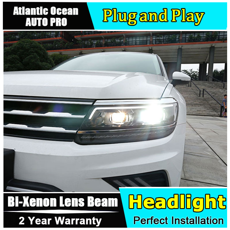 Auto part Style LED Head Lamp for VW Tiguan led headlight 2017 for Tiguan drl H7 hid Bi-Xenon Lens angel eye low beam headlight for kia k2 rio 2015 including angel eye demon eye drl turn light projector lens hid high low beam assembly