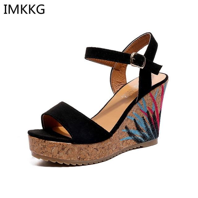 Verano Zapatos Sandalias Mujer 0f0xrq5 Cuñas Floral Plataforma Casual NwnmOyv80P