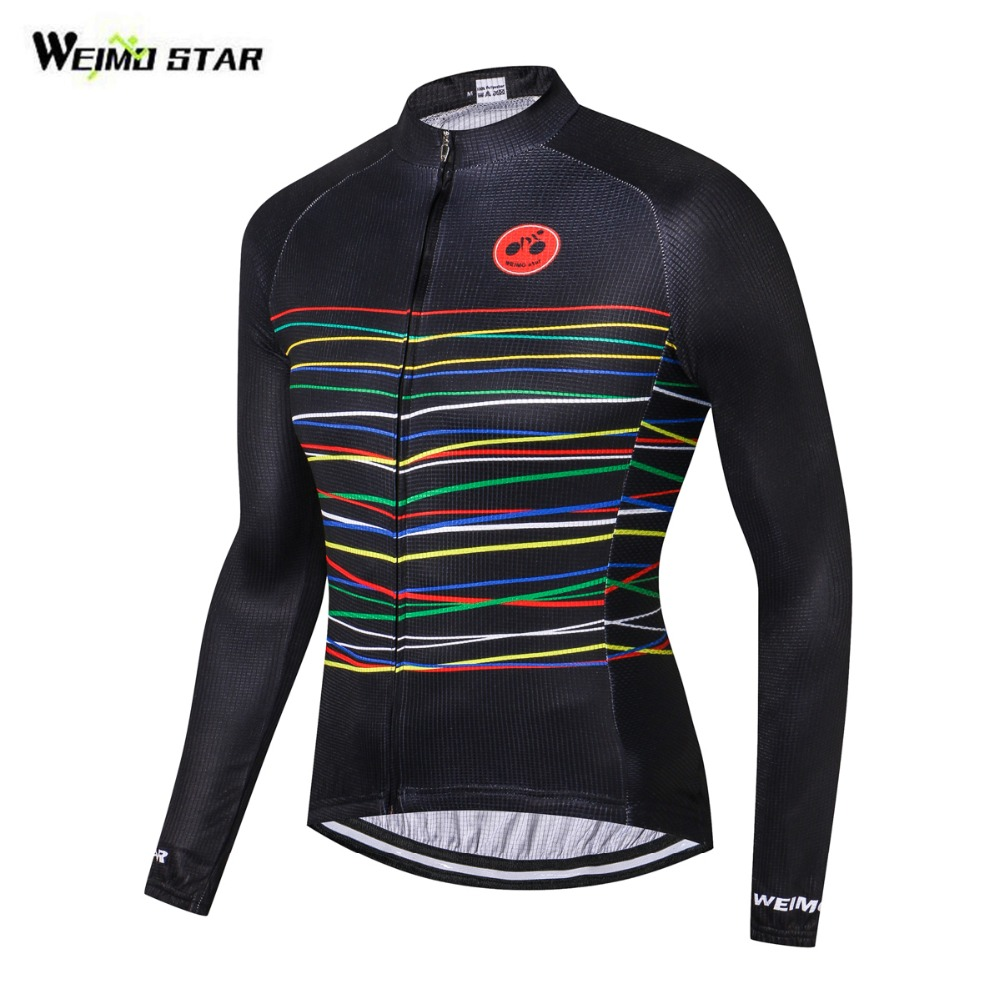 WEIMOSTAR Cycling Jersey Long Jacket Bike Riding Cycling Clothing Ciclismo Sportswear Maillot Black Colorful Lines S-XXXL