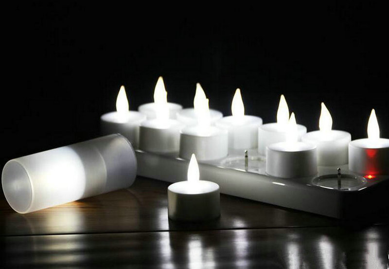 Sets lot rechargeable flameless led tealight candle lamp