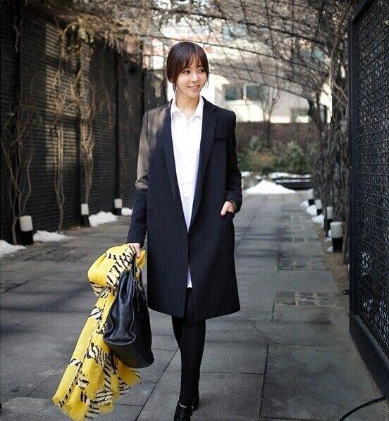 VENDA QUENTE! 2016 Outono novas Mulheres de longo casaco Pequeno terno preto solta blazer blazers casaco fino das mulheres OL fino plus size outerwear