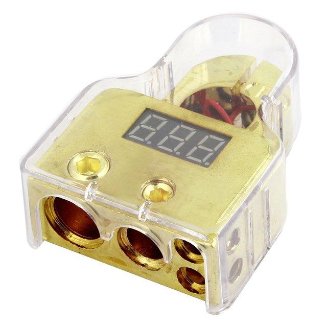 EDFY Digital Terminal Positivo de la Batería 8/1/0/4 Gauge Y Volt Meter