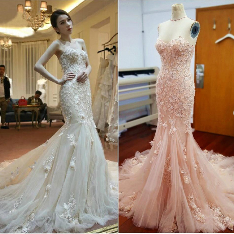 White/ Blush Pink Wedding Dress Mermaid Sweetheart Lace Appliques ...
