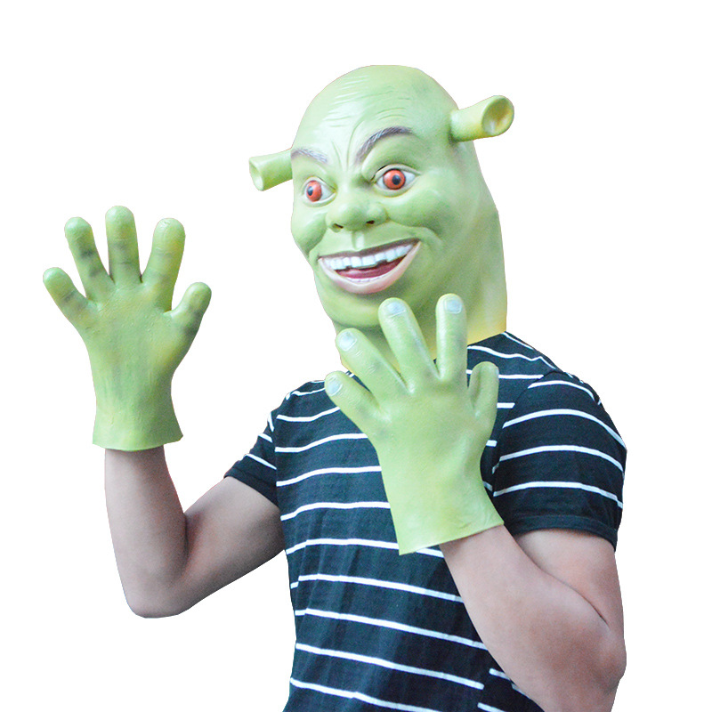 Halloween party cosplay adult kid latex Shrek mask and gloves green horror alien full head mask hood