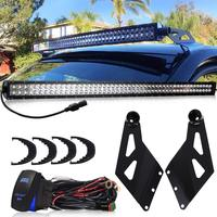 Dual 50inch 288W LED Light Bar Straight Upper Roof Windshield Mounting Brackets Offroad Driving Lamp For Dodge Ram 3500