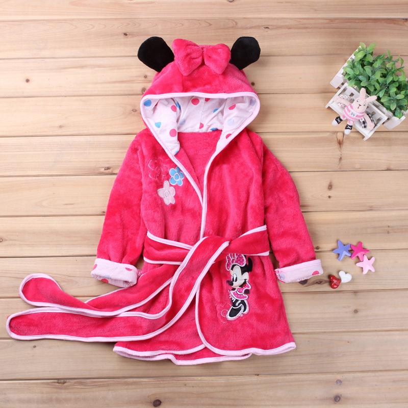 Cute Minnie Girls Robes Kids Bathrobe Cartoon Mickey Print Robe For Boys Pajamas Soft Coral Fleece Animal Warm Children Clothing